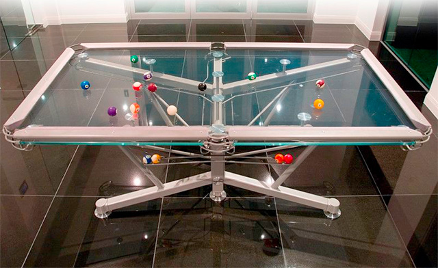 transparent glass pool table